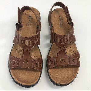Clarks Leisa Annual Dark Tan Leather Sandals sz 6
